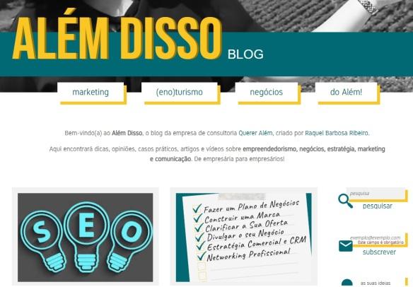 Novo blog Alem Disso Estratégia Marketing Comunicação